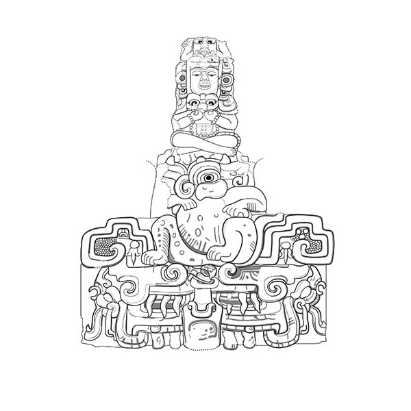 Balamku Frieze King Detail Drawing