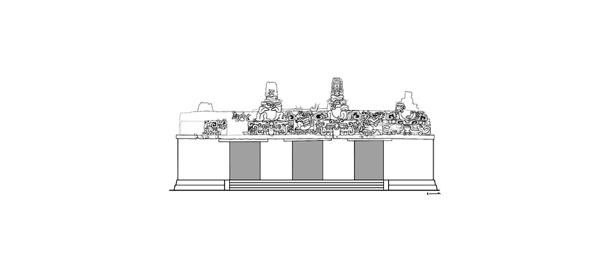 Balamku Frieze Whole Building Drawing